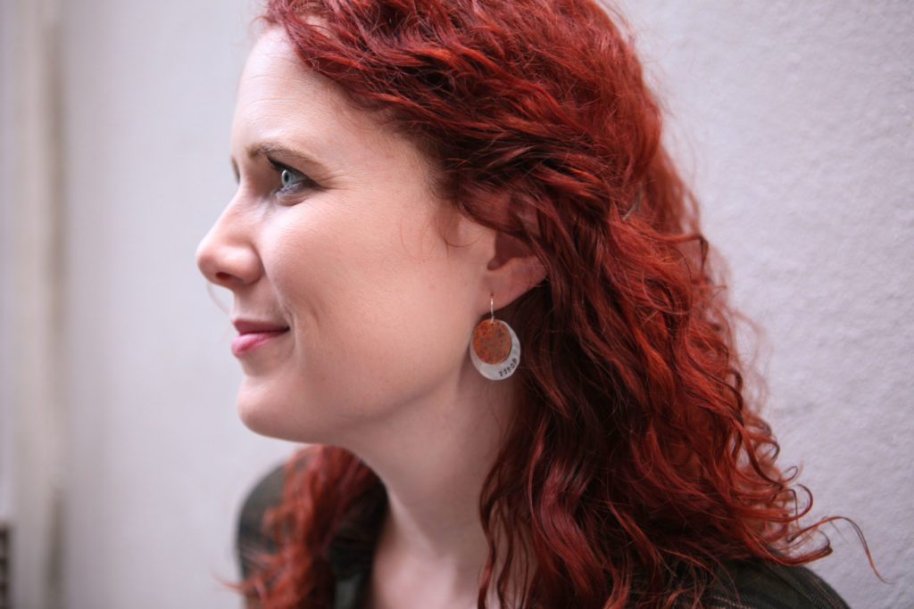 Textured Mixed Metal Disc Earrings. Photo by Elaine Akin.
